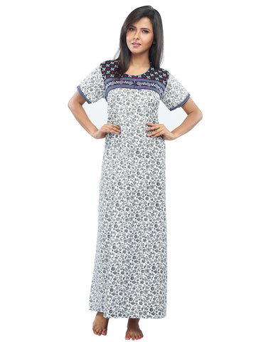 Juliet SNC20688 Women's Full Nighty,Blue Print