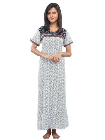 Juliet SNC20688 Women's Full Nighty,Red Print