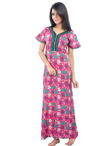 Juliet SNC20696 Women's Fancy Nighty,Pink Print