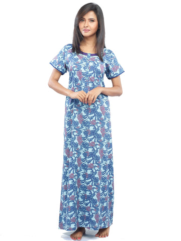 Juliet SNC20740 Women's Full Nighty,Blue Print