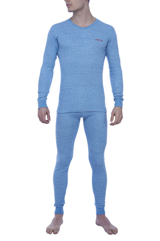 Zoiro Thermax VNFS Mens Full Sleeve V-Neck Thermals-Flame Blue