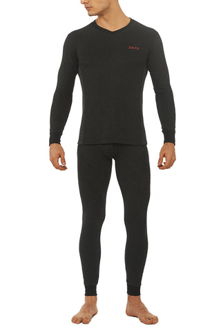 Zoiro Thermax VNFS Mens Full Sleeve V-Neck Thermals-Carbon Black
