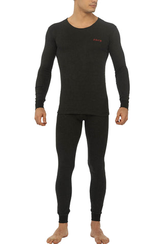 Zoiro Thermax RNFS Mens Full Sleeve Round Neck Thermals-Carbon Black