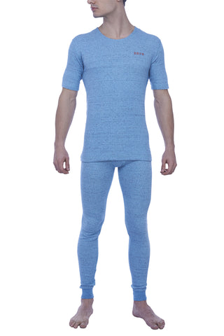 Zoiro Thermax RNHS Mens Half Sleeve Round Neck Thermals-Flame Blue