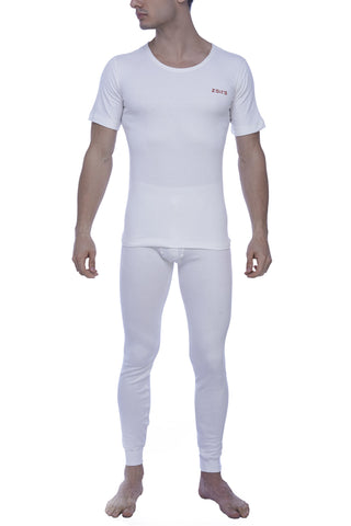 Zoiro Thermax RNHS Mens Half Sleeve Round Neck Thermals-Ivory White