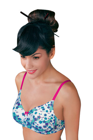Enamor A074 Side  Support T-Shirt Full Figure Bra-Blossom Print