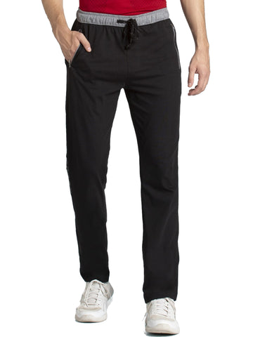 Jockey Men's Black & Grey Melange Sports Track Pant Slim Fit-9510