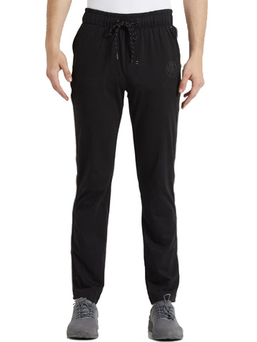 Jockey Men's Black & Grey Melange Active Track Pant Slim Fit-9501