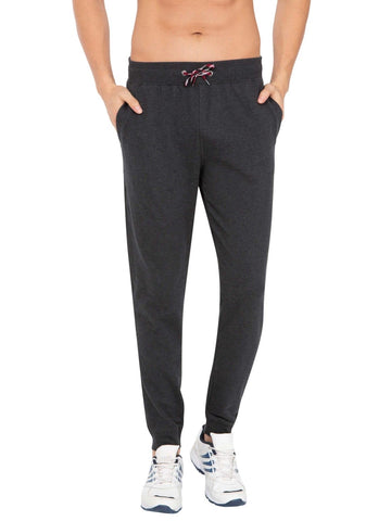 Jockey Men's Cotton Black Melange Jogger Slim Fit-US90