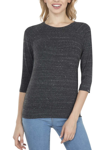 Jockey Women's Round Neck Quarter Sleeve Black Snow Melange T-Shirt-AW14