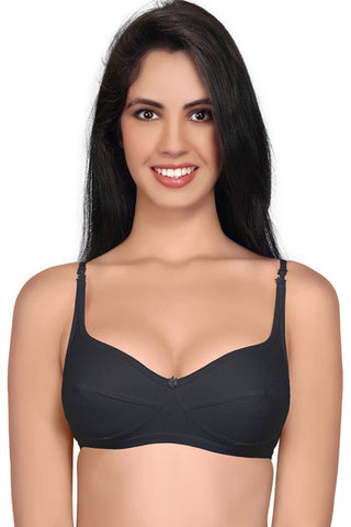 Juliet women's Dew Cotton Low Cut Saree Bra-Black
