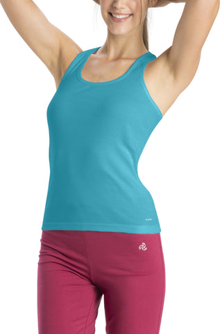 Jockey 1467 Women's premium Cotton Racer Back-Precious Blue