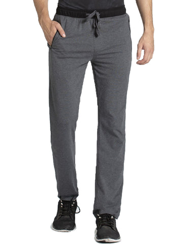 Jockey Men's Charcoal Melange & Black Sports Track Pant Slim Fit-9510