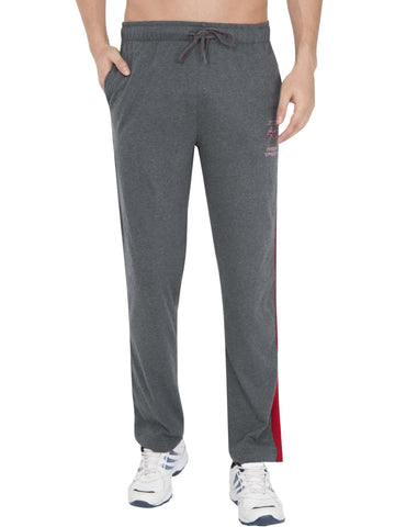 Jockey Men's Charcoal Melange & Shanghai Red Track Pant Stright Fit-9508