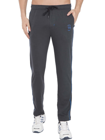 Jockey Men's Graphite & Neon Blue Active Track Pant Slim Fit-9501