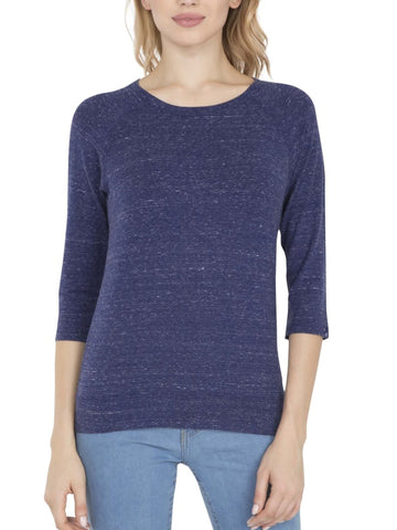 Jockey Women's Round Neck Quarter Sleeve Imperial Blue Melange T-Shirt-AW14