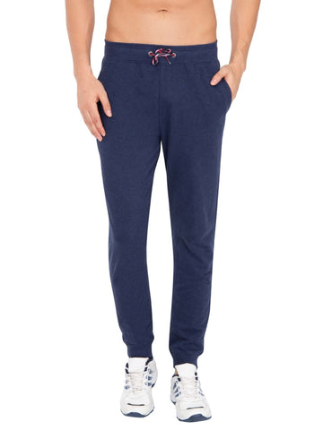 Jockey Men's Cotton Ink Blue Melange Jogger Slim Fit-US90