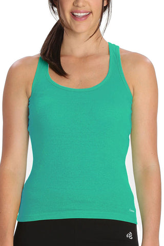 Jockey 1467 Women's premium Cotton Racer Back-Spectra Green