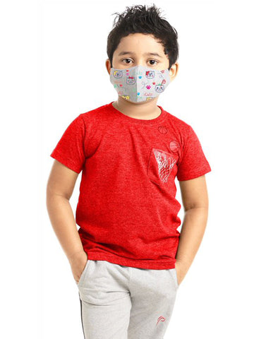 Poomer Kid's-Boy's Washable 3 layer Anti-Bacterial Face Mask (Pack of 3)