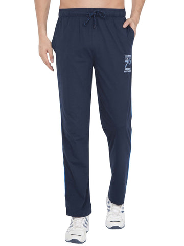 Jockey Men's Navy & Neon Blue Track Pant Stright Fit-9508