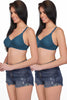 Juliet Sangeeta Women's Hoisery Non Padded T-Shirt Bra [Pack Of 2]-Rama Green