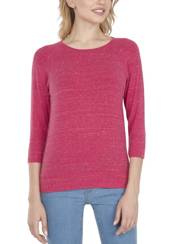 Jockey Women's Round Neck Quarter Sleeve Ruby Snow Melange T-Shirt-AW14