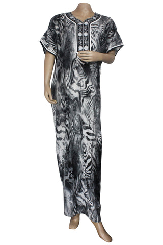Juliet SCA503463 Women's Hosiery Printed Nighty-Black Print