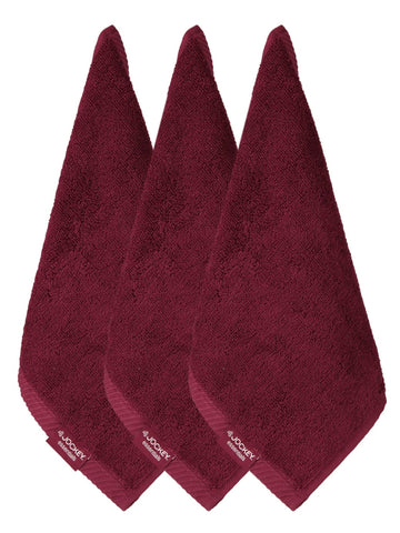 Jockey Cotton Burgundy Face Towel (Pack Of 3)-T301