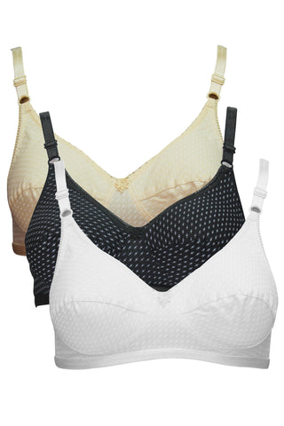Angelform Veena Women's Saree Full Figure Bra Pack of 3-White::Black::Skin