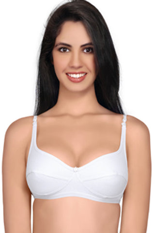Juliet women's Dew Cotton Low Cut Saree Bra-White