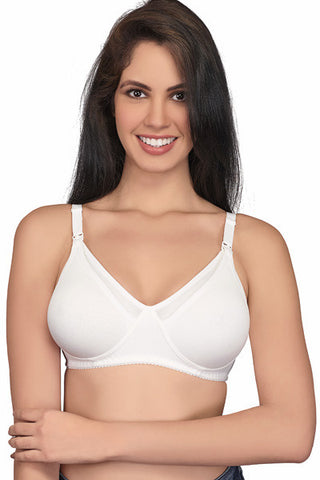 Juliet Women's Mold Feed Hoisery Non Padded Feeding Bra-White