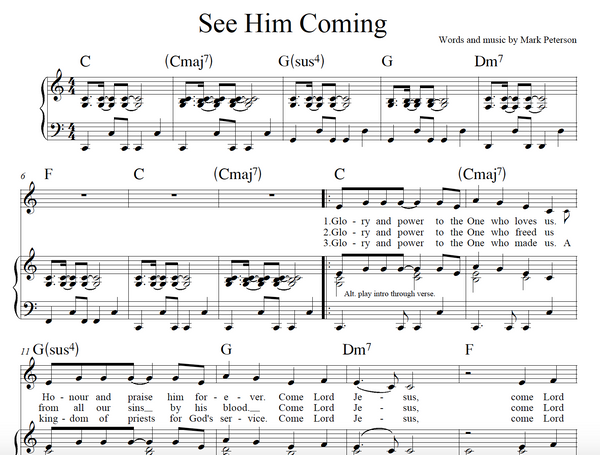 See Him Coming (Sheet Music)