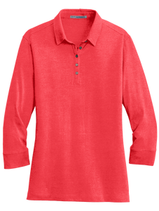 C1742W Ladies Meridian 3/4 Sleeve Cotton Blend Polo