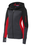 C1745 Ladies Tech Fleece Colorblock Hooded Jacket