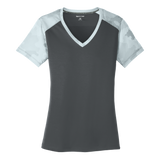 C1641W Ladies CamoHex Colorblock V-neck Tee