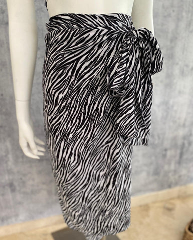 Sarong zebra wrap cover up skirt