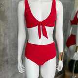 Red nudo ribbed high waisted bikinj set