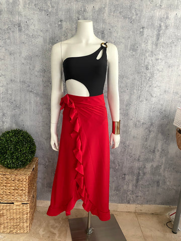Red Bolero cover up skirt