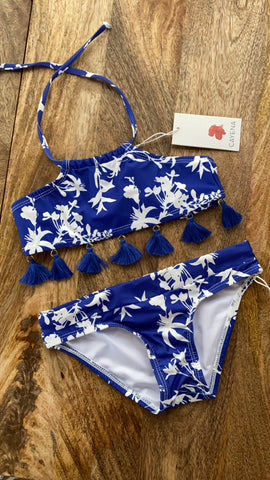 Set niñas blue flower tassels