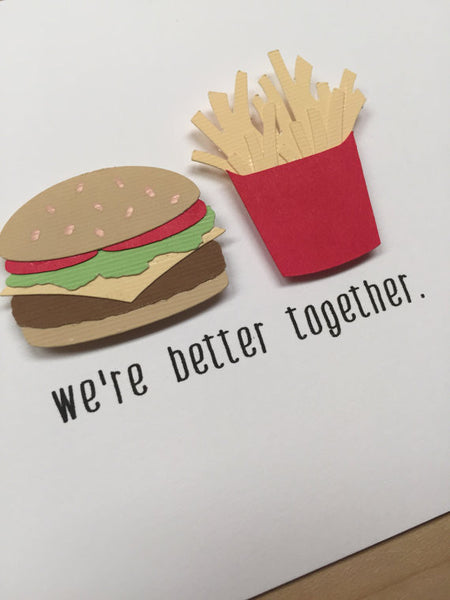 Burger & Fries Love Card | Cute Anniversary Card