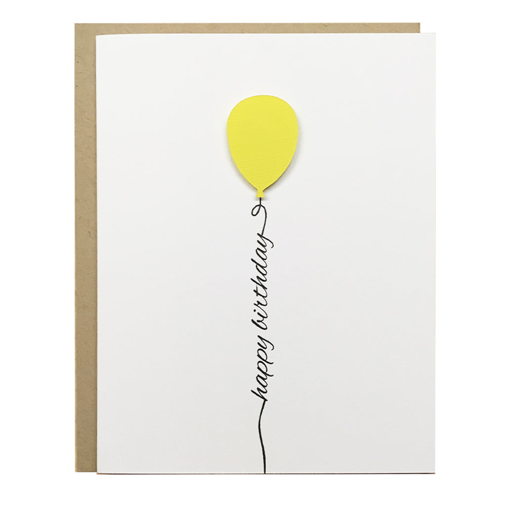 Yellow Birthday Balloon Card | Happy Birthday Card