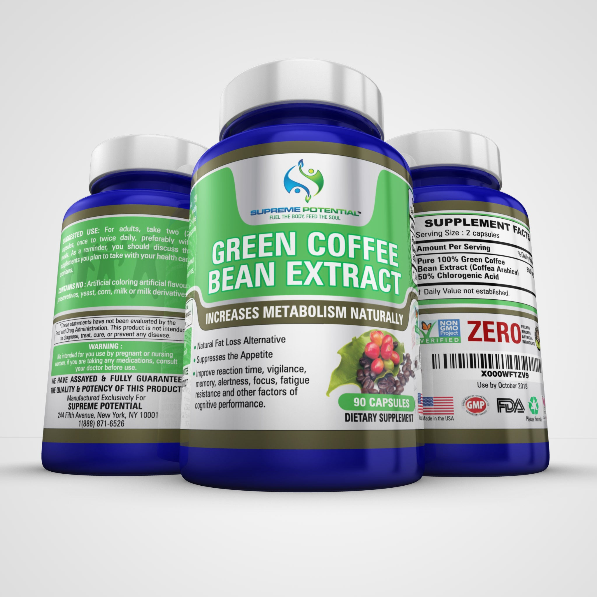 Green Coffee Extract Weight Loss Appetite Suppressant Pills