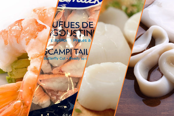 Shrimp, Scampi, Scallops and Squid - Seafood Mixed Pack, 13 lbs