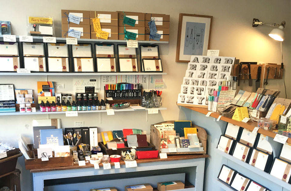 The delightful retail area of our shop, where you can purchase our paper goods.