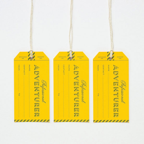Letterpress Luggage Tag - Professional Adventurer