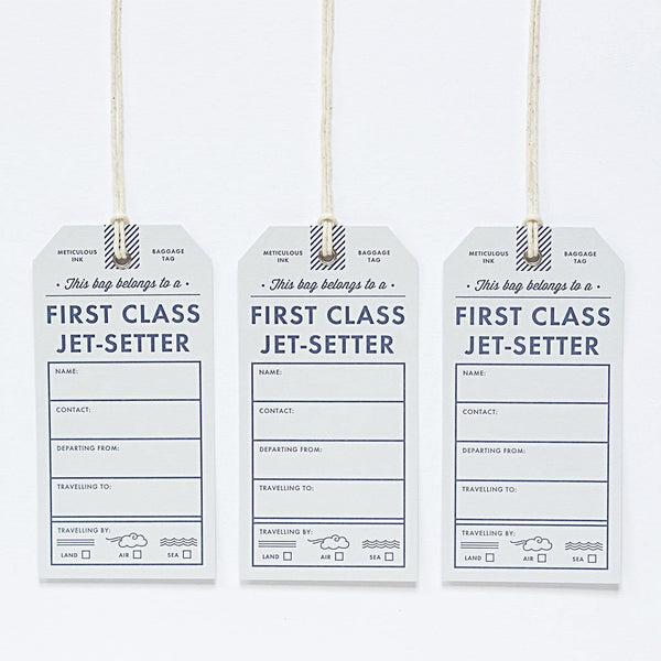 Letterpress Luggage Tag - First Class Jet Setter