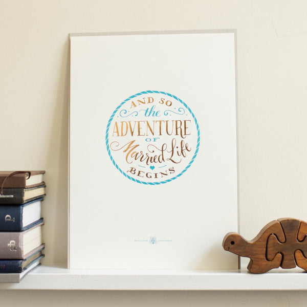 Adventure of Married Life A4 Letterpress Art Print
