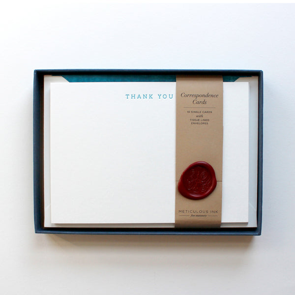 Letterpress Thank You Correspondence Cards - Teal Serif