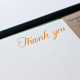 Letterpress Thank You Correspondence Cards - Yellow Script