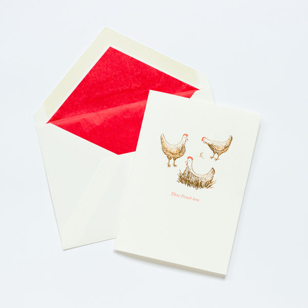 Christmas Card - Three French Hens